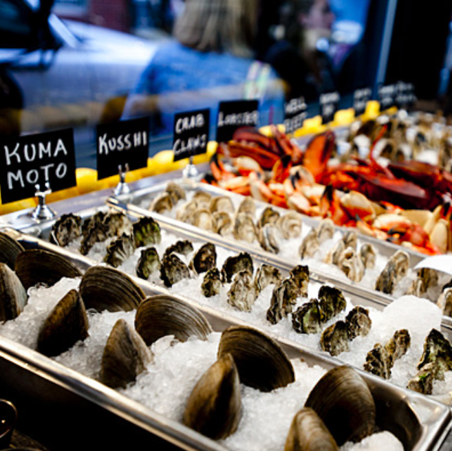 Clams. Oysters. Kuma Moto. Kusshi. Crab Claws. Raw Bar. Boston North End Neptune Oyster